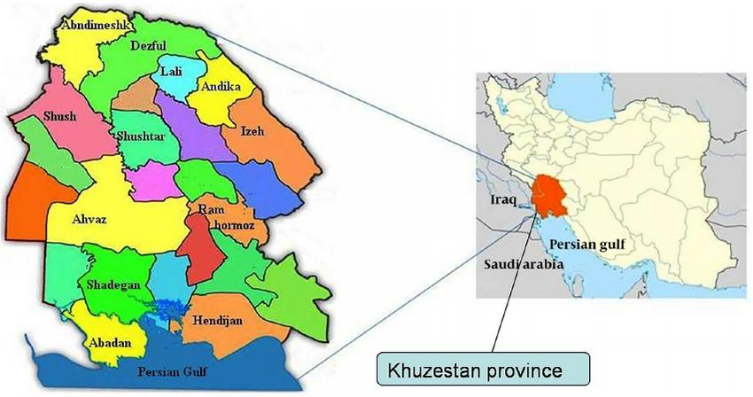 Map of Iran and Khuzestan Province